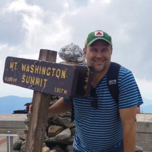 Joe Philippon, Cross Current Insurance Director of Marketing at Mt. Washington, NH summit