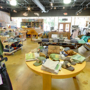 Fly fishing retail shop, hats, gear, pants, rods, reels